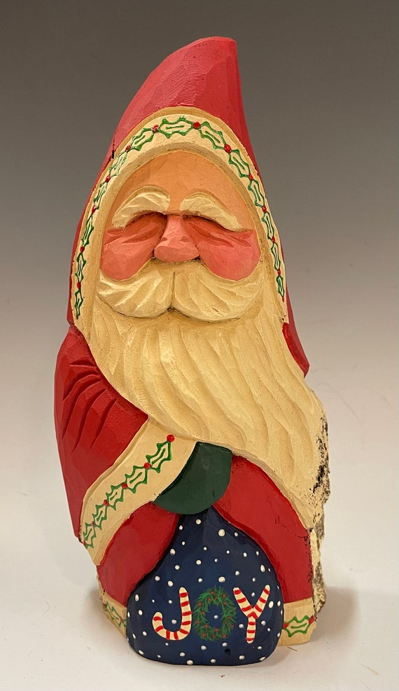 """HAND carved original 9"""" tall Santa w/bag from 100 year old Cottonwood Bark."""