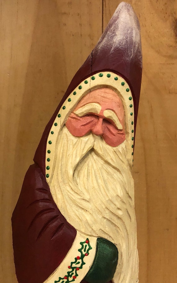 HAND carved original Santa with hiking stick from 100 year old Cottonwood Bark.