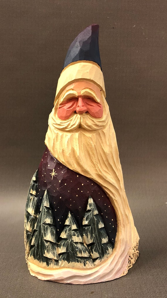 HAND carved original Santa with trees from 100 year old Cottonwood Bark.