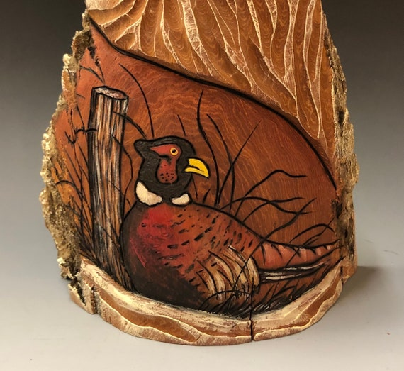 "HAND carved original 9"" tall Santa and wood burned pheasant from 100 year old Cottonwood Bark."