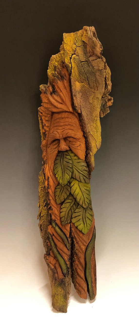 "HAND CARVED original 17.5"" long Tree Spirit/Green Man from 100 year old Cottonwood Bark"