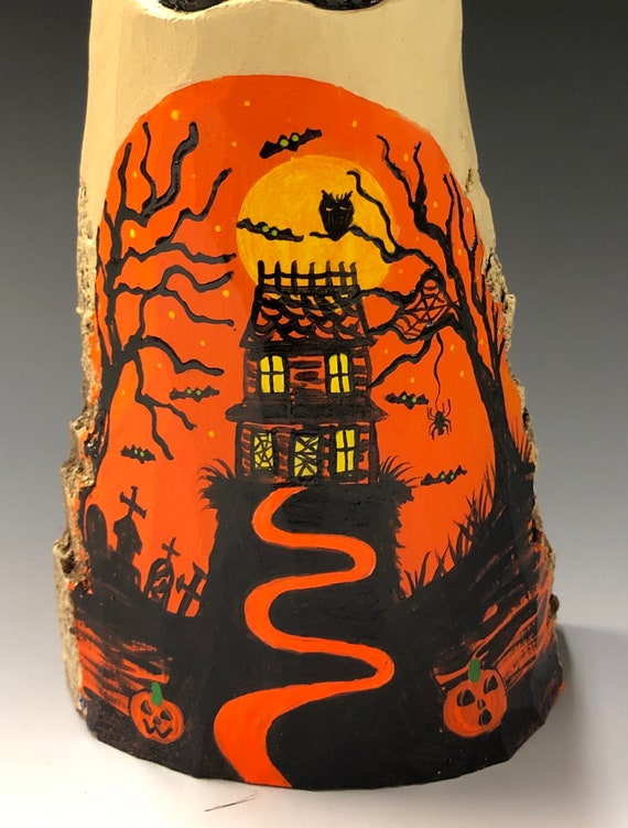 "HAND CARVED original 8"" Halloween ghost with painted scene from 100 year old Cottonwood Bark"