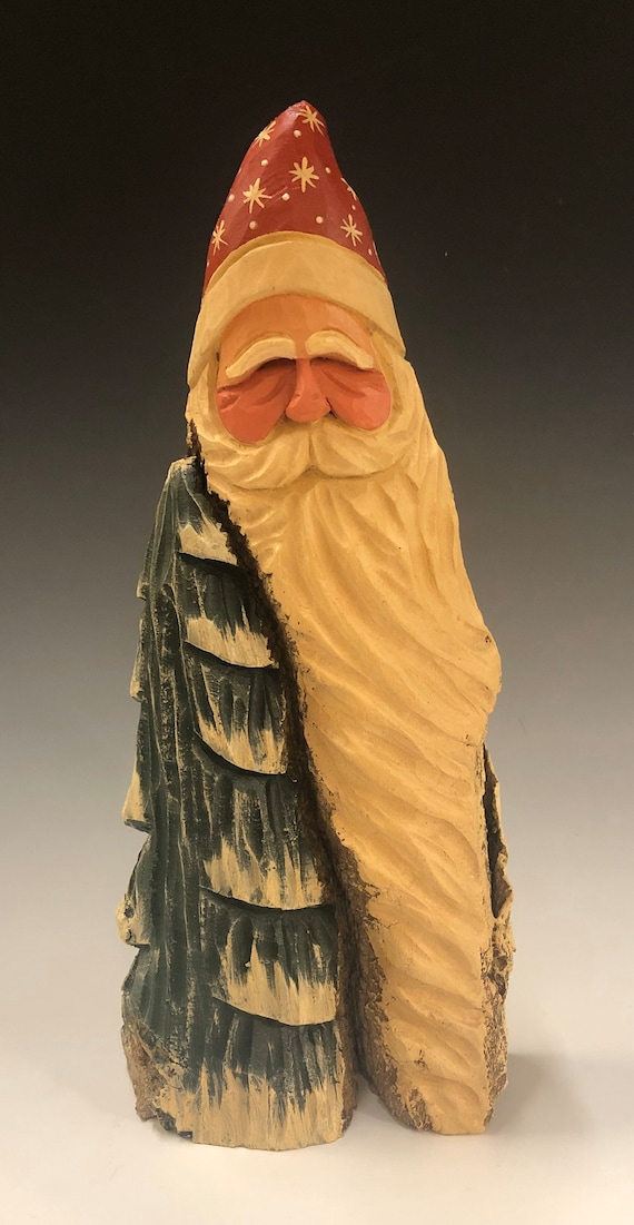 """HAND carved original 11"""" tall rustic  Santa bust  w/ tree from 100 year old Cottonwood Bark."""