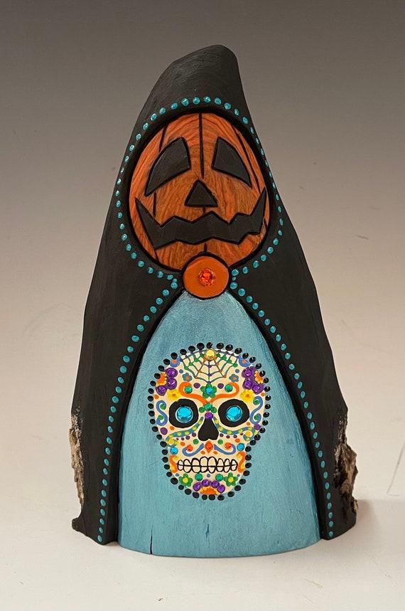 "HAND CARVED original 7.5"" tall Halloween man w/ sugar skull from 100 year old Cottonwood Bark"