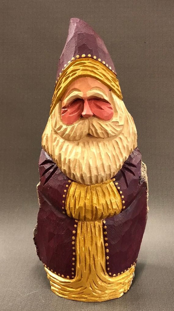 HAND carved original Santa with gold trim from 100 year old Cottonwood Bark.
