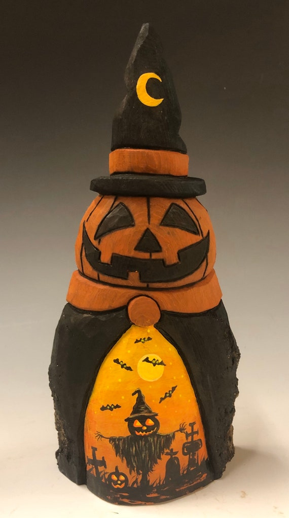 HAND CARVED original Halloween Jack-O-Lantern man w/ witch hat from 100 year old Cottonwood Bark