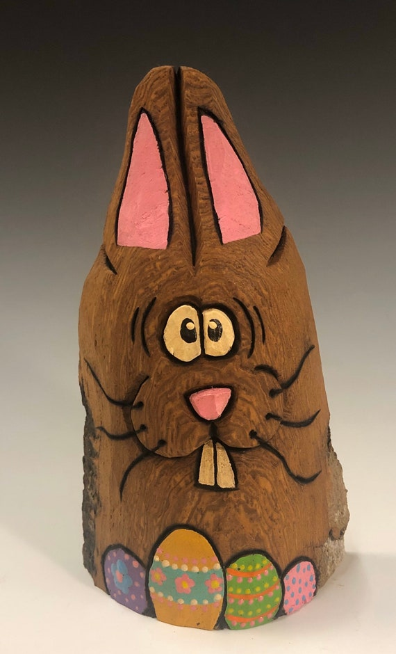 """HAND CARVED original 6"""" tall Easter Bunny with eggs from 100 year old Cottonwood Bark."""