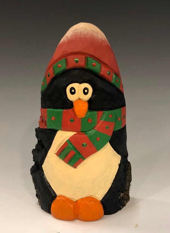 "HAND carved original 6"" tall Penguin with scarf and hat from 100 year old Cottonwood Bark."