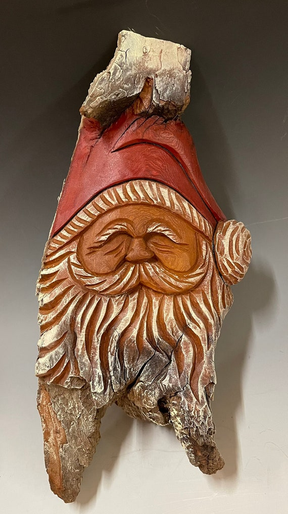 """HAND CARVED original 13"""" unique Christmas Spirit  wall hanging from 100 year old Cottonwood Bark"""