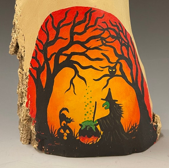 """HAND CARVED original 9.5"""" Halloween ghost with painted scene from 100 year old Cottonwood Bark"""