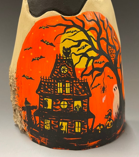 """HAND CARVED original 8"""" Halloween ghost with painted scene from 100 year old Cottonwood Bark"""