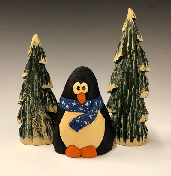 "HAND carved original 4"" tall Penguin w/ 2 trees set from 100 year old Cottonwood Bark."