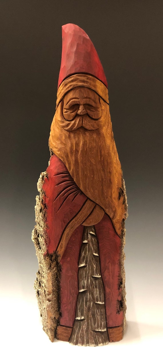 "HAND carved original 18"" TALL Santa and tree with oil stains from 100 year old Cottonwood Bark."