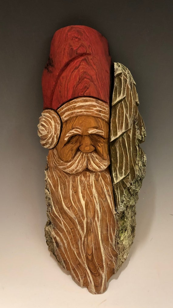 "HAND CARVED original 11"" Christmas Spirit w/tree wall hanging from 100 year old Cottonwood Bark"