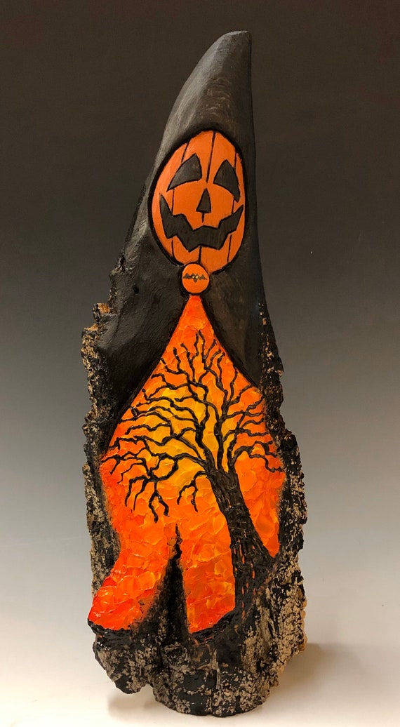 HAND CARVED original foot tall Halloween Jack-O-Lantern man w/ spooky tree from 100 year old Cottonwood Bark