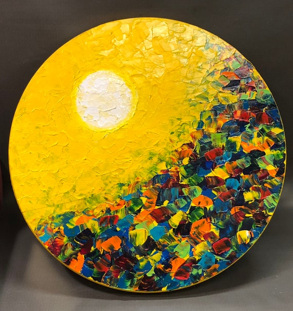 "ORIGINAL abstract pallette knife painting, 18"" diameter on wood panel by Mell Smith."