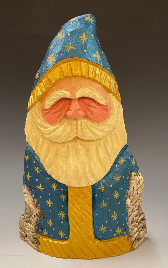 """HAND carved original 8.5"""" tall Teal & gold Santa from 100 year old Cottonwood Bark."""