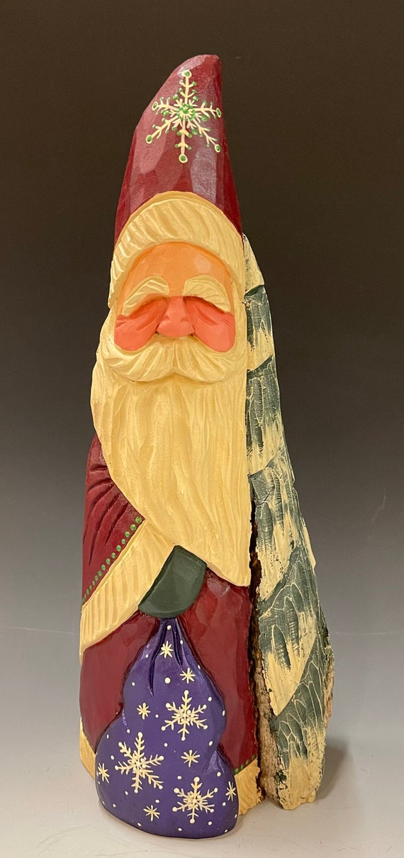 """HAND carved original 14.5"""" tall Santa w/ tree & bag from 100 year old Cottonwood Bark."""