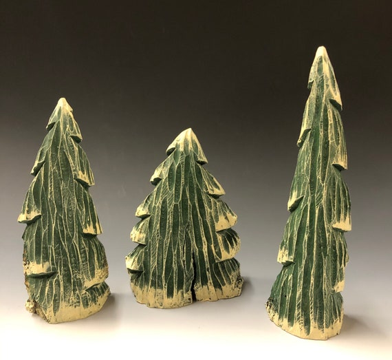 HAND CARVED original set of 3 trees from 100 year old Cottonwood Bark.