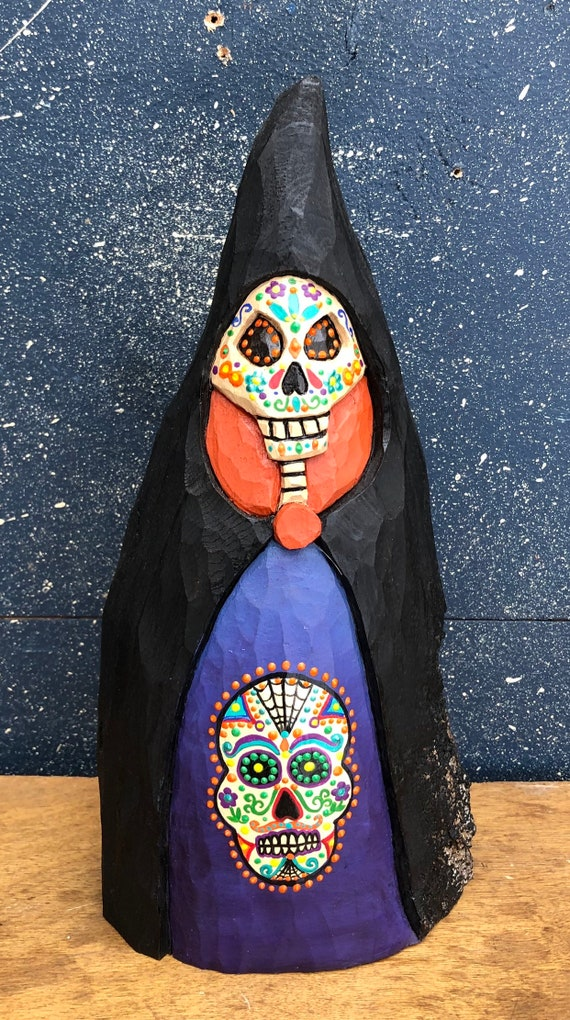 HAND CARVED original sugar skull style painted Halloween Skelly from 100 year old Cottonwood Bark