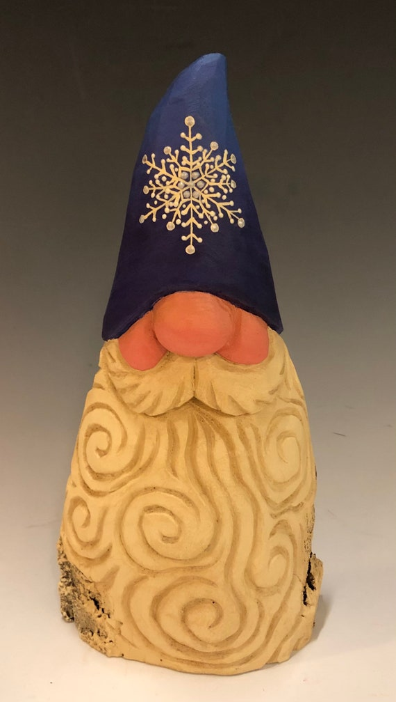 "HAND carved 8.5"" tall blue hat Gnome bust from 100 year old Cottonwood Bark."