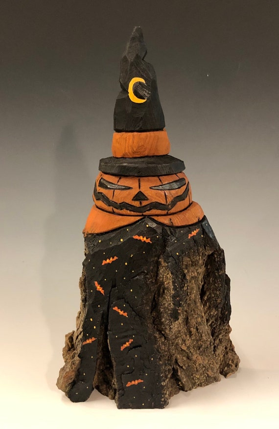 HAND CARVED original rustic Halloween Jack-O-Lantern man from 100 year old Cottonwood Bark
