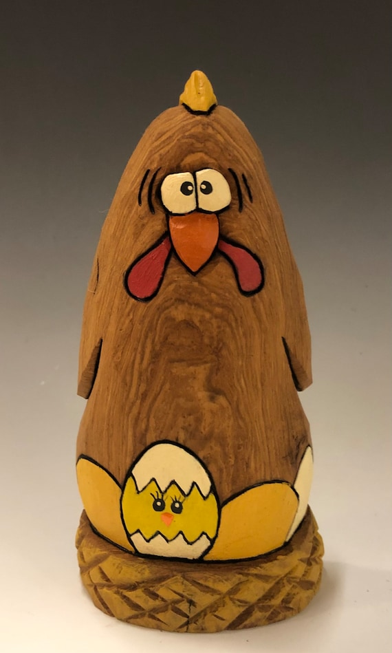 "HAND CARVED original 6.5"" tall Easter Chicken with eggs from 100 year old Cottonwood Bark."