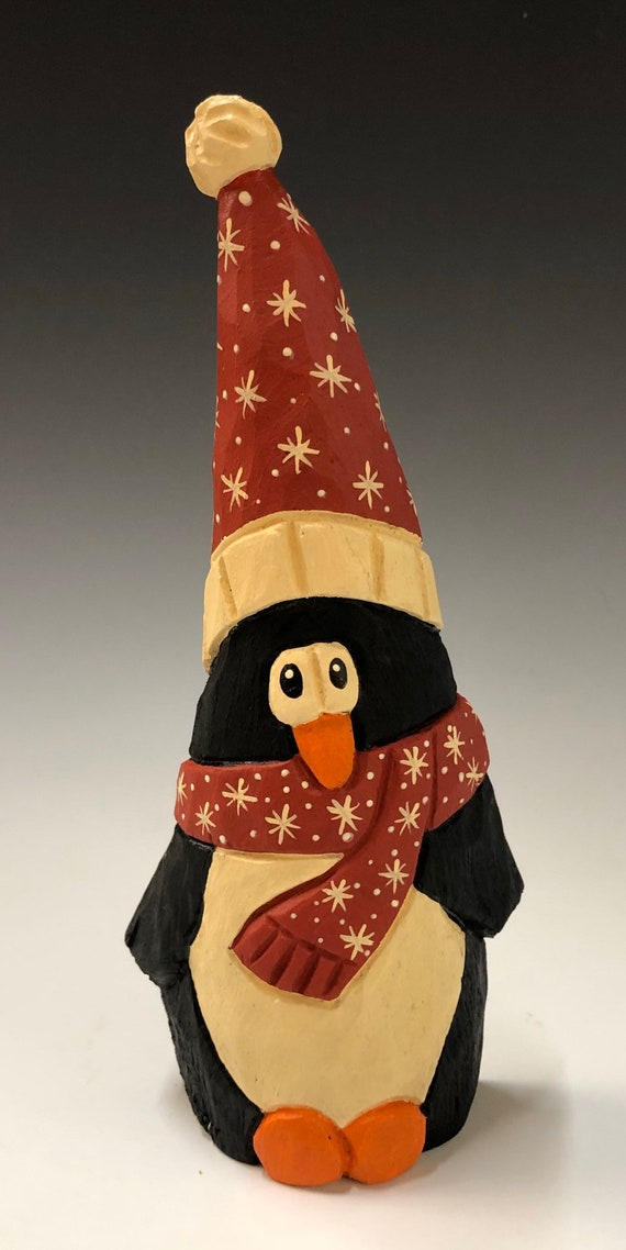 "HAND carved original 8"" tall Penguin with tall hat from 100 year old Cottonwood Bark."