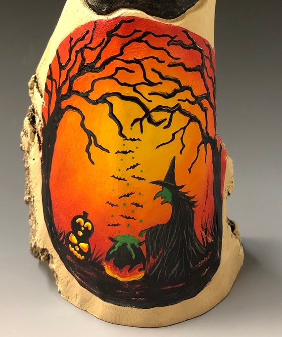"HAND CARVED original 7.5"" Halloween ghost with painted scene from 100 year old Cottonwood Bark"