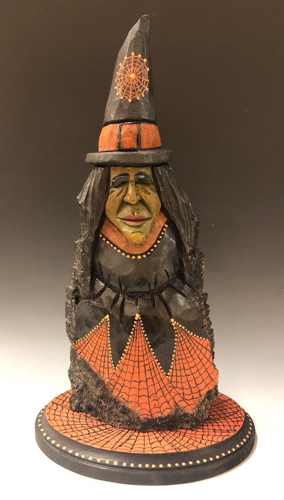 "HAND CARVED original 13"" tall Halloween Witch from 100 year old Cottonwood Bark"