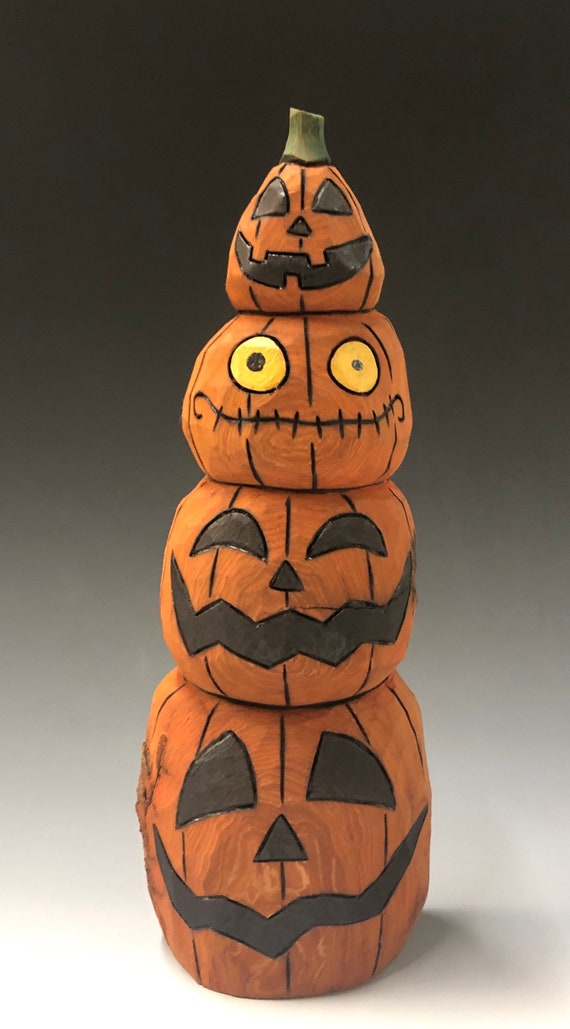 "HAND CARVED original 10"" tall Jack-O-Lantern stack from 100 year old Cottonwood Bark"