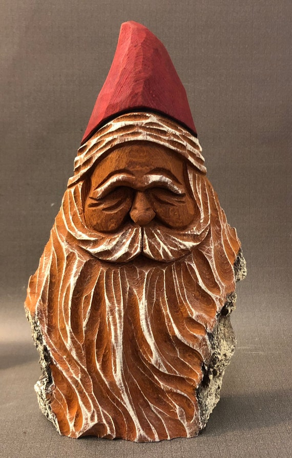 "HAND carved original 8.5"" tall rustic Santa bust with oil stains from 100 year old Cottonwood Bark."