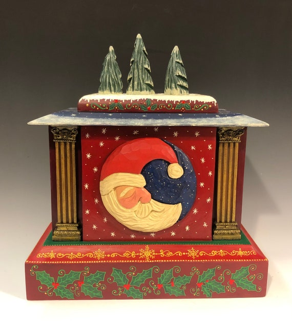 "Hand carved/ painted original 15"" Christmas antique clock case."