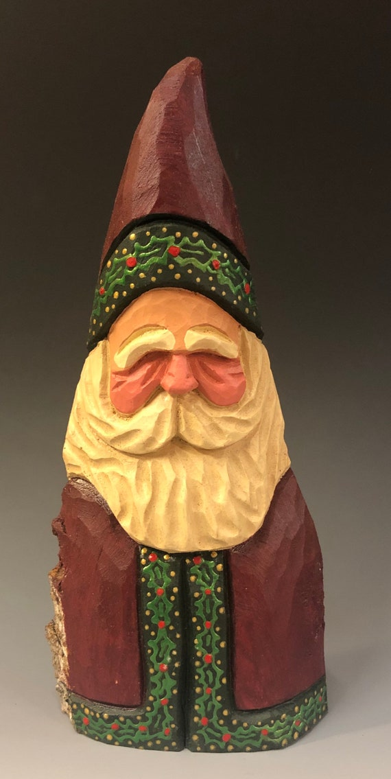 "HAND carved original 8.5"" tall holly trim Santa from 100 year old Cottonwood Bark."
