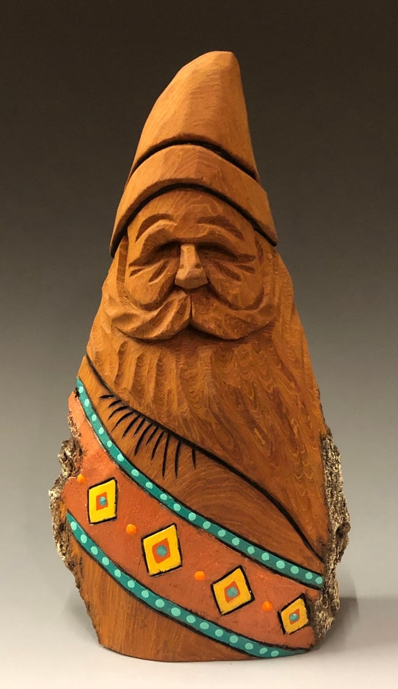 "HAND carved original 7"" tall Southwest Santa with  from 100 year old Cottonwood Bark."