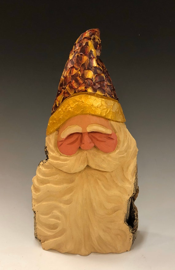 "HAND carved original 9"" tall pallet knife painted Santa bust from 100 year old Cottonwood Bark."