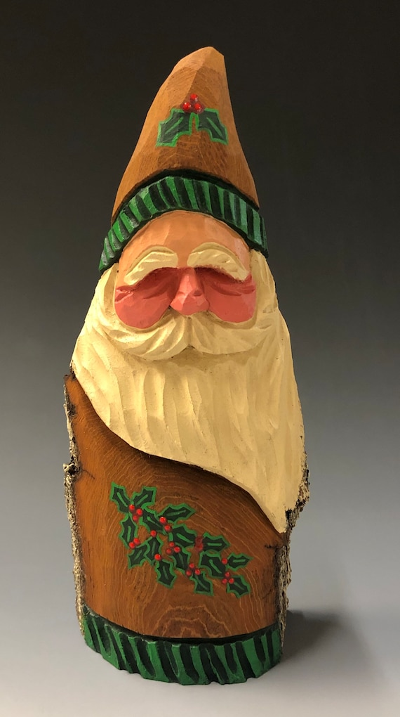 "HAND carved original 8"" tall Santa with natural finish from 100 year old Cottonwood Bark."