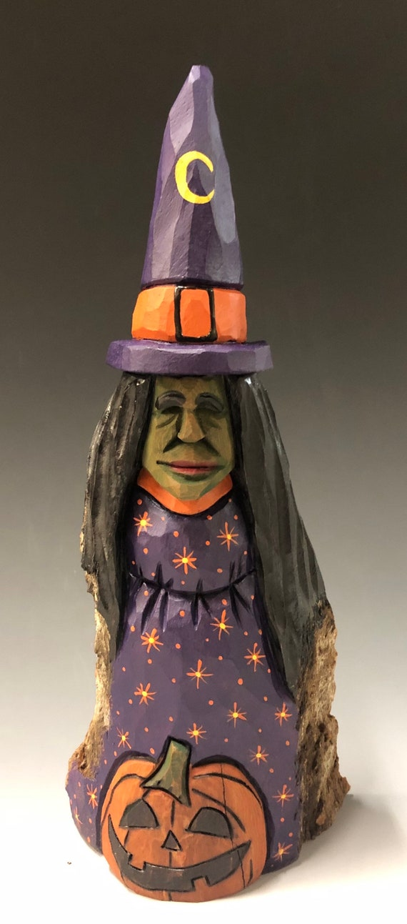 "HAND CARVED original 9"" tall Halloween Witch w/ Jol from 100 year old Cottonwood Bark"