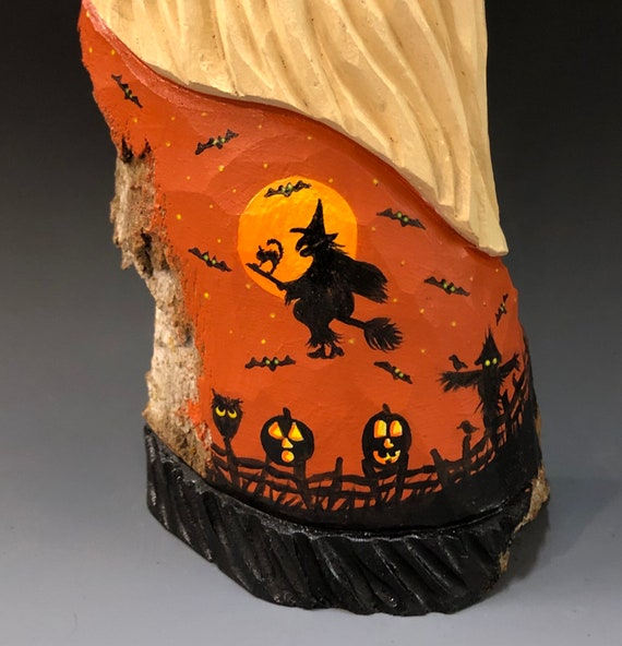 """HAND carved original 9"""" tall """"Halloween"""" Santa w/painted scene from 100 year old Cottonwood Bark."""