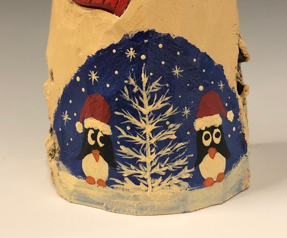 HAND carved original Snowman w/ penguin scene from 100 year old Cottonwood Bark.