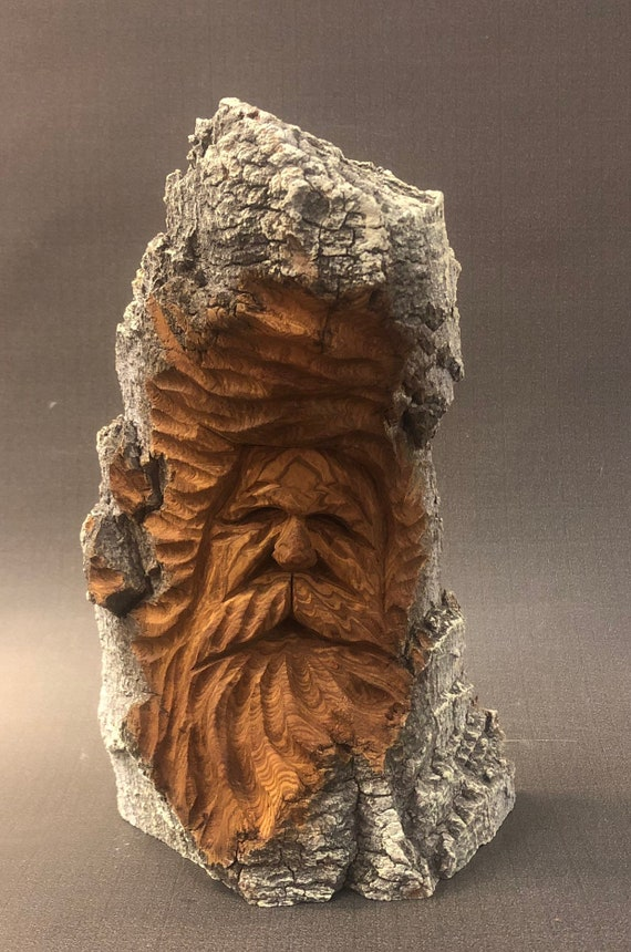 """HAND carved original 7.5"""" tall rustic Wood Spirit with natural finish from 100 year old Cottonwood Bark."""