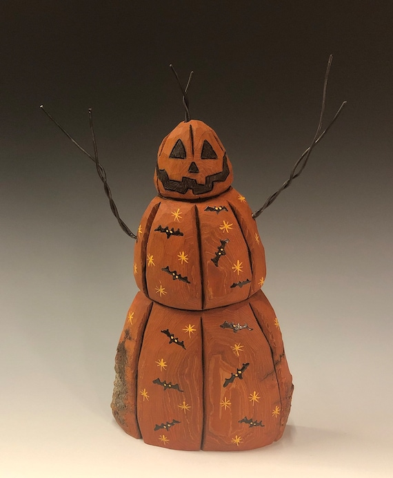 HAND CARVED original new Halloween jol snowman with bats from 100 year old Cottonwood Bark