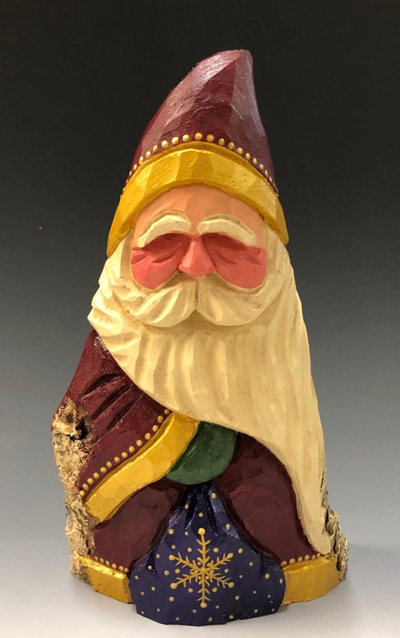 "HAND carved original 8"" tall Santa w/ bag from 100 year old Cottonwood Bark."