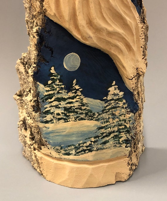 "HAND carved original 10"" tall rustic Santa with winter scene from 100 year old Cottonwood Bark."