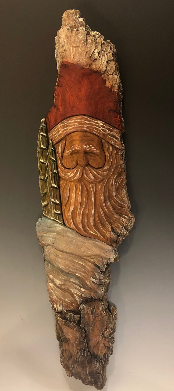 HAND CARVED original 2 foot long Santa wall hanging from 100 year old Cottonwood Bark