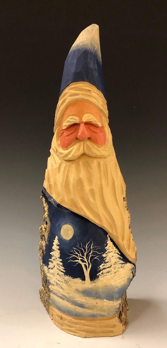 "HAND carved original 11"" tall Santa w/ white trees from 100 year old Cottonwood Bark."