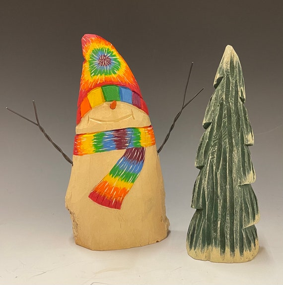 HAND carved original tie-dye Snowman & tree set from 100 year old Cottonwood Bark.