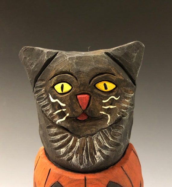 """HAND CARVED original 6"""" tall Halloween kitty in a Jack-o-lantern from 100 year old Cottonwood Bark"""