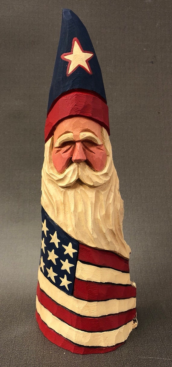 HAND CARVED original Patriotic Santa from 100 year old Cottonwood Bark.