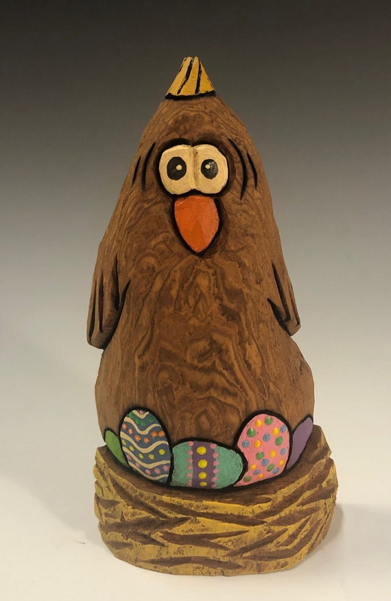 """HAND CARVED original 5.5"""" tall Easter Chicken with eggs from 100 year old Cottonwood Bark."""